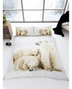 Stunning Polar Bear Family 3D Single Duvet Cover and Pillowcase Set