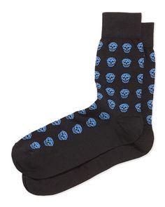 Skull Knit Short Socks, Mid-Blue/Black by Alexander McQueen at Bergdorf Goodman.