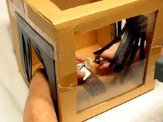 Jewelry polishing box. What an excellent idea, keeps all that flying polishing compound contained!