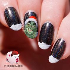 """""""Then the Grinch thought of something he hadn't before. Maybe Christmas doesn't come from a store. Maybe Christmas, he thought, means a little bit more!"""" I had a MASSIVE headache while painting this nail art design so at one point I had to stop and accept it as it was."""