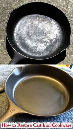 How to Restore Cast Iron Cookware Cast iron pans are among some of the easiest to damage, and are prone to rusting along any part of the varyingly expe Cast Iron Care, Cast Iron Pot, Cast Iron Dutch Oven, Cast Iron Cookware, It Cast, Cast Iron Skillet Cooking, Iron Skillet Recipes, Cast Iron Recipes, Whole Foods Market