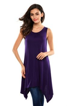 Bluetime Womens Sleeveless Vogue Wide Hem Design Hi Low Tank Top Shirts Tunic (XL, Purple)