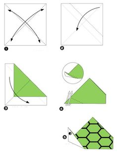 Simple origami for kids and their parents. Selection of funny and cute figures. Turtle