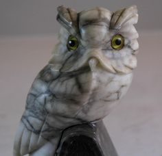 ITALIAN MARBLE HAND CARVED OWL FIGURINE BOOKENDS SCREECH OWL SCOPS OWL GLASS EYE