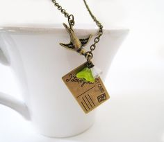 Postcard with Love Necklace by lunashineshine on Etsy, $21.00