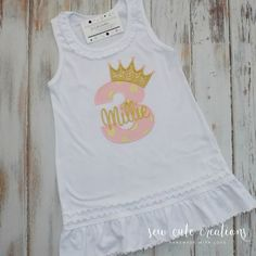 Personalized Princess Dress Birthday Dress Princess Crown Dress name monogram custom embroidered short long sleeve sew cute creations