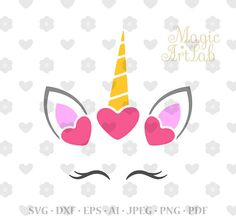 Unicorn Svg, Unicorn head, Unicorn face, Cute Unicorn Svg, Eyelashes Svg, Unicorn clipart, Unicorn horn, Cut Files, Silhouette Cut Files