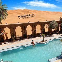 Insta / daydreamlifestyle: Awesome hotel in the middle of the Sahara Desert!! Auberge de Sud hotel in Morocco! Photo by @joaocajuda