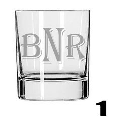 Rocks Glass PERSONALIZED  - Deep Etched Straight Sided Rocks Glass, Whiskey Glass, Initialed Glass, Monogrammed Glass, Personalized Cup. $12.50, via Etsy.