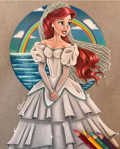 🌈💦I absolutely loved working on wedding Ariel! She is fashioned after the new Disney store doll but I ended up keeping a lot of classic Ariel as well! Also I used technique on the skirt fabric that he used in his recent Snow White so thank you! Disney Princess Art, Disney Fan Art, Disney Style, Disney Love, Disney Magic, Disney Artwork, Disney Little Mermaids, Ariel The Little Mermaid, Pinturas Disney