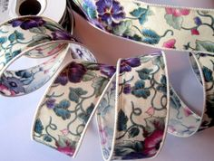 Pansy Flower Cotton Wired Ribbon Trim Multi by PrimroseLaceRibbon, $3.75