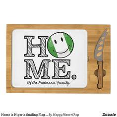 Home is Nigeria Smiling Flag Housewarming Cheese Board