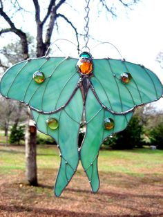 Stained Glass Luna Moth Suncatcher by PassionFlowerGlass on Etsy, $38.00