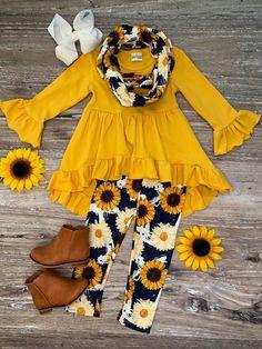 Sunflower Fields Navy Hi Lo Tunic Scarf Outfit - My favorite children's fashion list Cute Little Girls Outfits, Kids Outfits Girls, Little Girl Fashion, Toddler Girl Outfits, Little Girl Dresses, Kids Fashion, Baby Outfits, Toddler Fashion, Fashion Fashion