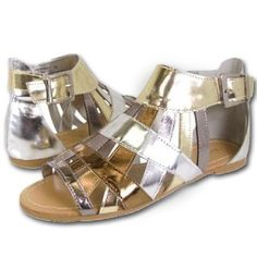 Amazon.com: Metallic Gold Silver Gladiator Caged Sandals Flats: Shoes