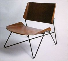 Living room chair, moulded plywood and steel