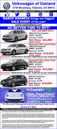 March Madness brings our biggest sales event of the year. It's the end of the quarter and we your help to sell 50 cars in seven days! http://www.vwofoakland.com/Specials #Volkswagen #VW #Autobahn #DasAuto