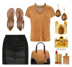 """""""Black and Tan"""" by gemique ❤ liked on Polyvore featuring Alexander McQueen, rag & bone/JEAN, Billabong, Charlene K, Natasha Accessories, Salvatore Ferragamo, Max Factor and Lucy B."""
