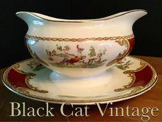 MYOTTS myott gravy boat jug server with attached under Plate vintage retro antique Royal Crown Chelsea Bird red by BlackCatVintageGB on Etsy