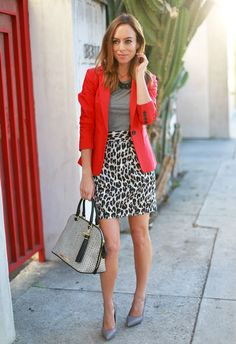 Sydne-Style-what-to-wear-with-a-red-blazer-leopard-skirt-gray-t-shirt-cactus