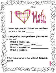 Math activities using Sweethearts Candy.  Includes 4 pages with questions about:*Sorting*Estimation*Place Value*Subtraction*Multipl...