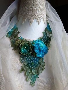 Vintage style shabby statement necklace ,hand dyed lace and flowersboho bib necklace, woodland fairy necklace Shabby Flowers, Satin Flowers, Fabric Flowers, Textile Jewelry, Fabric Jewelry, Jewellery, Fabric Flower Brooch, Ribbon Work, Floral Necklace