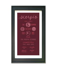 SCORPIO. Zodiac Print Poster Illustration of Birth by ZodiacZone