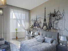 фотообои Париж в интерьере спальни