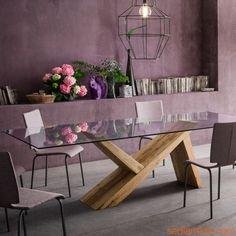 aKeo F - Tavolo fisso in legno con piano in vetro