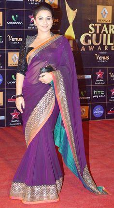 Vidya Balan in Beautiful Sabyasachi Purple #Saree at Star Guild Awards 2013 ~