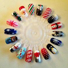 Chrismas nail art, easy christmas nail designs, diy christmas nails easy, n Nail Art Noel, Xmas Nail Art, Christmas Manicure, Holiday Nail Art, Xmas Nails, Winter Nail Art, Halloween Nail Art, Winter Nails, Holiday Crafts