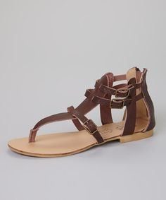 Love this Brown Tiara Leather Sandal on #zulily! #zulilyfinds