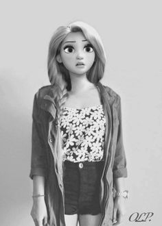 Modern Rapunzel by floralscarf photoshop art disney