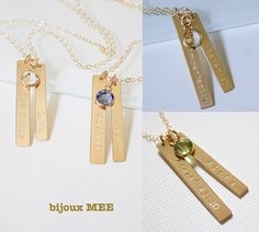 Personalized Vertical Bar Necklace//Two Vertical  by BijouxMEE