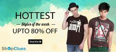 Exciting offer on top branded men's #wears like #tshirt, #shirts, #jeans & much more with upto 80% discount from #shopclues.