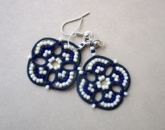 Bridal tatted white lace earrings made in Italy  chandelier