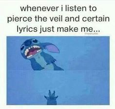 I have to post this. Stitch and Pierce the Veil?!?! What is life?!?! Oh wait this is