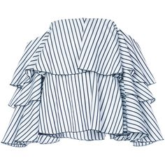 Caroline Constas striped frill trim off-the shoulder blouse ($755) ❤ liked on Polyvore featuring tops, blouses, white, off-shoulder blouses, striped off-shoulder tops, off the shoulder long sleeve top, white off shoulder blouse and ruffle blouse