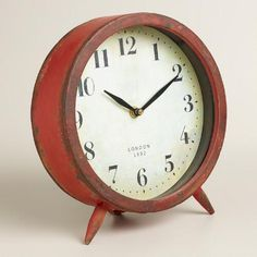 Our Large Red Charlie Clock brings you retro style at a great value. This vintage-inspired tabletop clock is a standout accent for any bookcase, nightstand or desk.