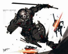 Death Degree by benedickbana on DeviantArt Fantasy Character Design, Character Design Inspiration, Character Concept, Character Art, Robot Concept Art, Armor Concept, Robot Art, Cyberpunk Character, Cyberpunk Art