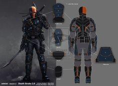 Arrow Season 2 Deathstroke OC: Back view and breakdown of the approved Deathstroke design.