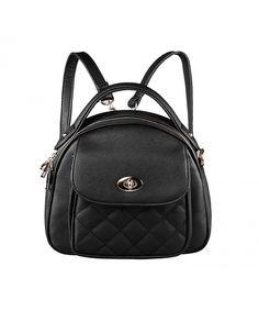 Stylish Plaid Small Girls Women Leather Handbag Backpack With Shoulder  Straps - Black - CM11ZFFL2FT   be5e0c88714dc