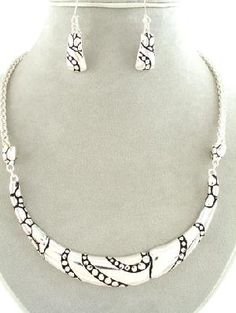 Silver and Black Tone Metal Crecent Necklace and Matching Earrings