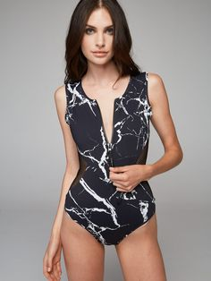 Swim in style with the Varley Marble Print Swimsuit | Shop the latest activewear arrivals from Fashercise now!