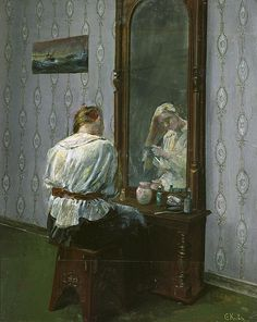 In front of the mirror, by Christian Krohg (Norwegian, Skagen, Mirror Art, Mirror Image, Mirrors, Edvard Munch, Through The Looking Glass, Vintage Artwork, Art Themes, Vintage Pictures