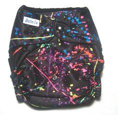 Modern cloth nappy / diaper  pocket style  Funky Black by BellaJs, $25.00