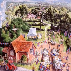View the painting: Golden Jubilee Celebrations by Francis Farmar John Galliano, Town And Country, Country Life, Steve Madden, Best Jigsaw, Village Fete, Days Out, Illustration Art, Illustrations