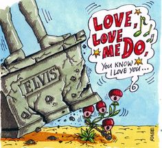 THE BEATLES LOVE ME DO CARTOON IMAGES | Cartoon: Beatles Love Me Do 1962 (medium) by RABE tagged beatles ...