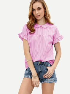 Shop Pinstripe Peter Pan Collar Tie Back Ruffle Sleeve Top online. SheIn offers Pinstripe Peter Pan Collar Tie Back Ruffle Sleeve Top & more to fit your fashionable needs.