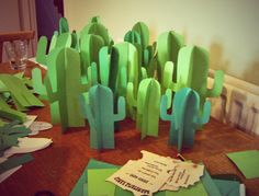 Wild West-themed cacti table decorations - Try making big ones using poster board from the dollar store?